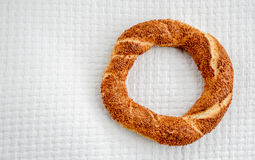 Traditional Turkish Donut (Simit) on a White Cover Stock Photos