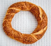 Traditional Turkish Donut (Simit) on a White Cover Stock Images