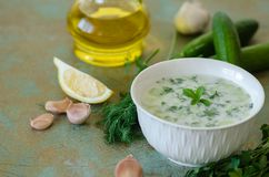 Traditional Turkish drink,tzatziki, made from yogurt, garlic, an royalty free stock images