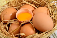 Traditional turkish egg basket and cracked eggs. Traditional Turkish Food and Concept royalty free stock photo