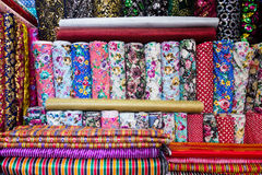 Traditional Turkish fabrics, background. Traditional Turkish fabrics at Kemeralti, Izmir, Turkey Royalty Free Stock Photo