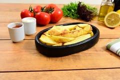 Traditional Turkish food casserole and patato. Traditional Turkish Food and Concept stock photography