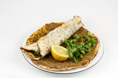 Traditional Turkish foods, Turkish delicious pizza; Lahmacun royalty free stock images