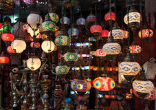 Traditional Turkish glass lamps Stock Photography