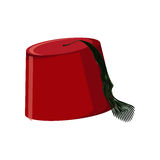 Traditional turkish hat fez or tarboosh. Isolated on white background. Flat icon. Cartoon vector illustration Royalty Free Stock Photography