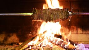 Traditional Turkish kebab on barbecue grill. stock video footage