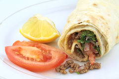 Traditional turkish kebap tantuni roll with lavash bread Royalty Free Stock Photo