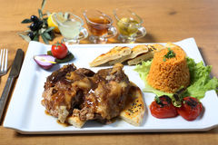 Traditional turkish lamb with bulgur pilav, vegetables Stock Images