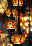 Traditional Turkish lamps. Traditional vintage Turkish lamps over light background in the night Stock Images