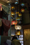 Traditional turkish lamps hanging at the Grand. Group of traditional multicolored turkish lamps hanging at the Grand Bazaar in Istanbul, Turkey Stock Photo