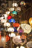 Traditional turkish lamps. On the market royalty free stock photo