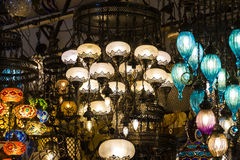 Traditional Turkish lanterns. Made of colored glass Stock Photos