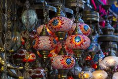 Traditional Turkish lanterns. Made of colored glass Royalty Free Stock Image