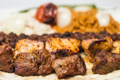 Traditional turkish meal - selections of kebabs Stock Photography