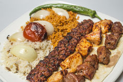 Traditional turkish meal - selections of kebabs Royalty Free Stock Images