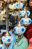 Traditional turkish mosaic lanterns at oriental bazaar Royalty Free Stock Images