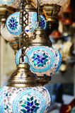 Traditional turkish mosaic lanterns at oriental bazaar Royalty Free Stock Photo