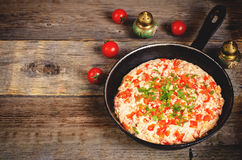 Traditional turkish omelet menemen with tomatoes Stock Photo