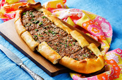 Traditional Turkish pastries with meat Royalty Free Stock Photography