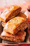 Traditional turkish pastry roll with chocolate and nuts - pastic. Traditional turkish pastry roll with chocolate and nuts filling - pastich served on a vintage Royalty Free Stock Photo