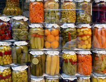 Traditional Turkish pickles of various fruits and vegetables Royalty Free Stock Photos