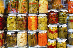 Traditional Turkish pickles of various fruits and vegetables. There is an important place in Turkey and produced first by the Turks Royalty Free Stock Photo