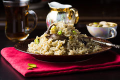 Traditional turkish pilaf with chicken liver and pistachios Royalty Free Stock Photos