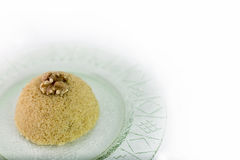 Traditional Turkish semolina sweet desert halva with nuts Stock Photography