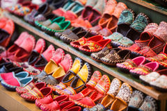 Traditional Turkish shoes. Color image of some traditional Turkish shoes in a shop Stock Photos