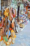 Traditional turkish shoes. Leather handmade shoes on the market in Istanbul Stock Image