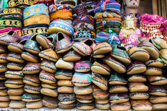 Traditional turkish slippers for sale at Istanbul`s Grand Bazaar. Colourful sea of traditional shoes for sale at Istanbul`s most popular bazaar Royalty Free Stock Images