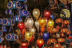 Traditional turkish style lamp from grand bazaar. A device for giving light, either one consisting of an electric bulb together with its holder and shade or Stock Image