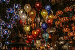 Traditional turkish style lamp from grand bazaar. A device for giving light, either one consisting of an electric bulb together with its holder and shade or Royalty Free Stock Image