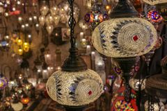 Traditional turkish style lamp from grand bazaar. A device for giving light, either one consisting of an electric bulb together with its holder and shade or Stock Images