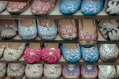 Traditional Turkish style shoes. The wearing of something or the state of being worn as clothing Stock Images