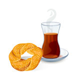 Traditional Turkish tea with bun with sesame seeds. Vector illustration Royalty Free Stock Photo