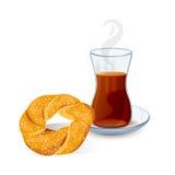 Traditional Turkish tea with bun with sesame seeds stock illustration