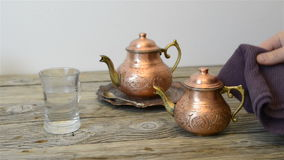 Traditional Turkish tea. Turkish tea and traditional copper teapot stock video