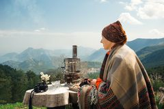 Traditional Turkish tea culture. In the mountains Stock Image