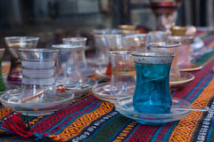 Traditional Turkish tea glasses Stock Images