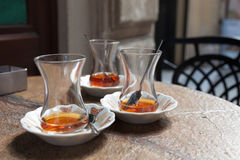 Traditional Turkish tea glasses Royalty Free Stock Photos