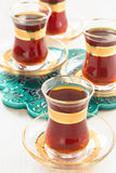 Traditional Turkish tea in glasses Royalty Free Stock Images