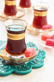 Traditional Turkish tea in glasses Stock Image