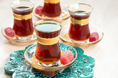 Traditional Turkish tea in glasses Stock Photography