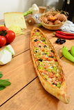 Traditional turkish wegetable food pide. Traditional Turkish Food and Concept royalty free stock image