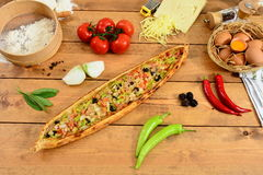 Traditional turkish wegetable food pide , Wood background Pita. Traditional Turkish Food and Concept Stock Images