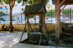 A traditional Turkish well in the inner courtyard of the Alanya Archaeological Museum Turkey royalty free stock photo