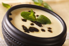 Traditional Turkish Yayla soup with mint and yogurt close up in Stock Photo