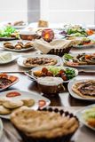 Traditional Turrkish Cuisine. Traditional foods like mumbar, buryan, kebab, baklava from Turkish cuisine Stock Images
