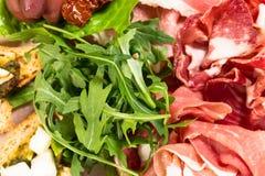 Traditional tuscan antipasto platter closeup. Stock Photo
